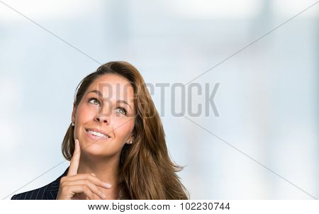 Woman looking up, lots of copy-space for your product or text