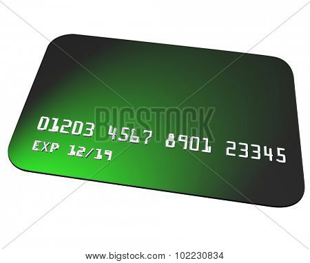 Green plastic credit card to use for buying goods or services at a store or restaurant or online ecommerce
