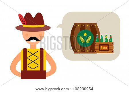 Vector illustration Oktoberfest german man abstract silhouette. Comic bubble speech icon. Oktoberfest vector people. German man boy dressed in national costume isolated. German Oktoberfest people