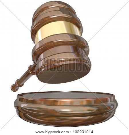A judge's gavel and block as a verdict or judgment is enforced to decide a court lawsuit or case