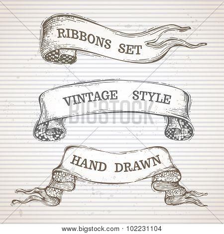 Vintage Hand-drawn Ribbon Banners Set.