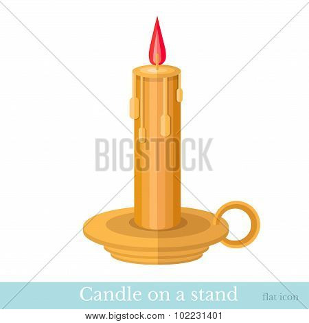 candle on candlestick flat icon isolated on white
