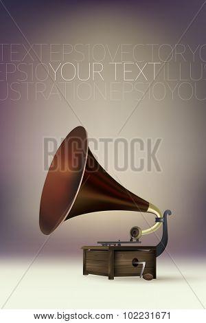 vector gramophone illustration