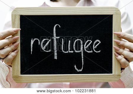 Refugee Word Written On Blackboard/chalckboard