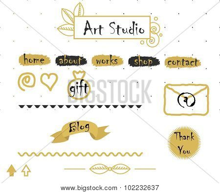 Blog template elements in gold and grey