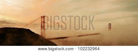 Golden Gate Bridge and fog panorama in San Francisco
