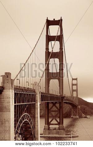 Golden Gate Bridge closeup in San Francisco as the famous landmark.
