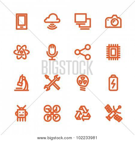 Fat Line Icon set for web and mobile. Modern minimalistic flat design elements of computer network technology, cloud computing database, modern technical and science instruments