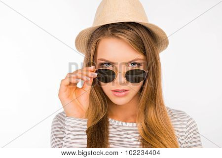 Girl With A Hat Pulled The Glasses On Her Nose