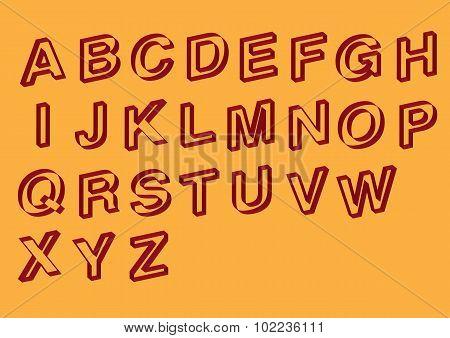 Slanted Outline Vector Font Design