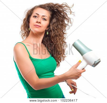 woman using hairdryer isolated