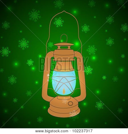 Vector Vintage Kerosene Lamp On A Green Background With Snowflak