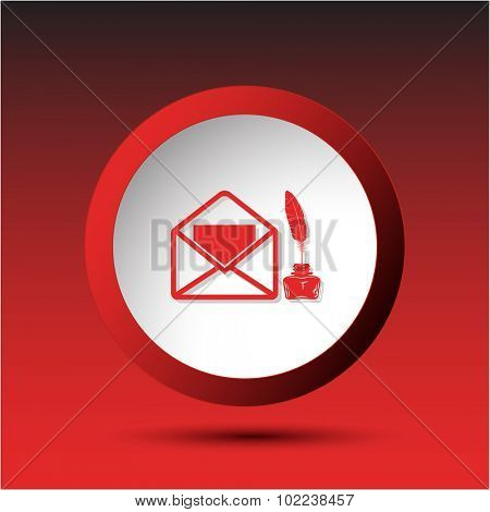 mail with feather and inkstandn . Plastic button. Vector illustration.