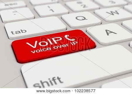 Keyboard - Voice Over Ip - Red