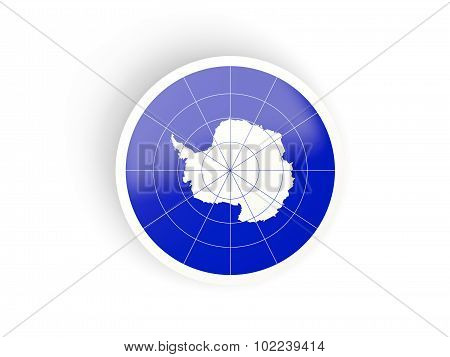 Round Sticker With Flag Of Antarctica
