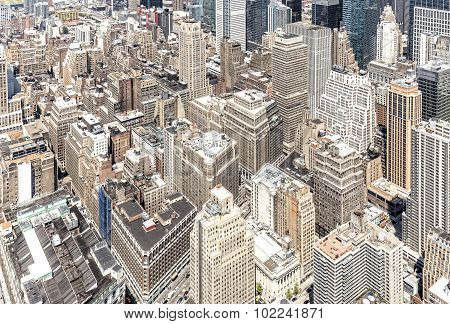 Aerial View Of Manhattan's Downtown, Nyc.