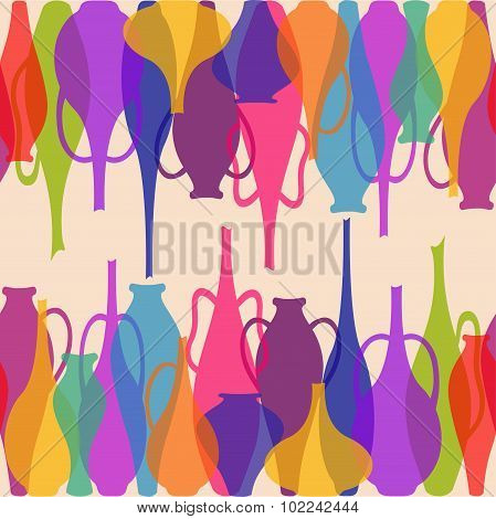Seamless Pattern Of Colorful Vases
