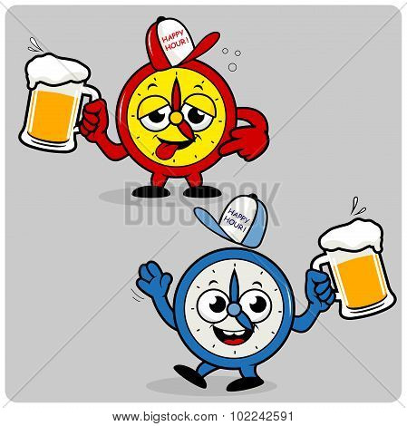 Drunk cartoon alarm clocks serving beer