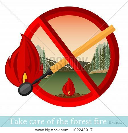 No fire in forest or park. Red circle with match