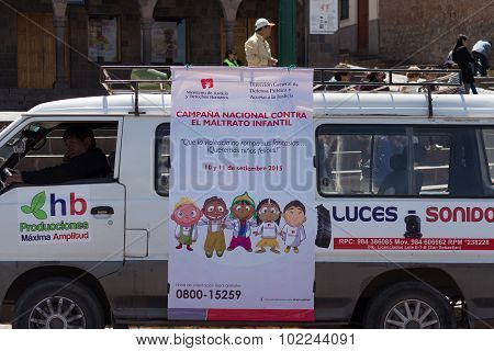 Demonstration Against Children Abuse In Cusco, Peru.