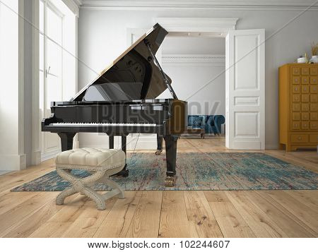 Black piano in a living room. 3d rendering