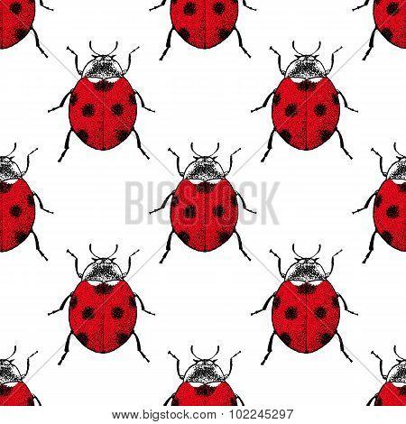 Red ladybugs vintage seamless pattern