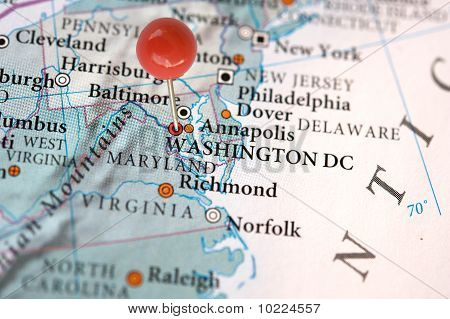 Washington DC on a map
