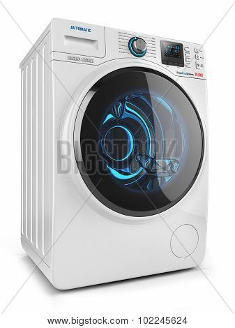 Washing Machine Isolated On White Background 3D