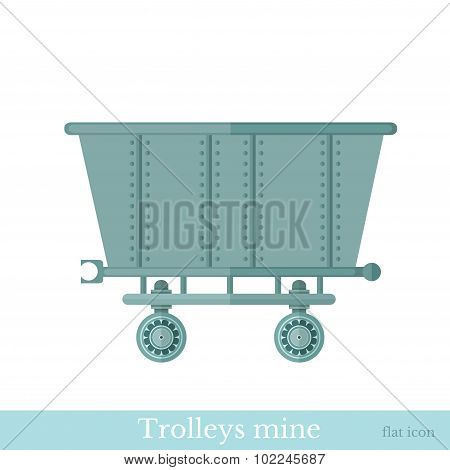 flat style trolley mine isolated on white