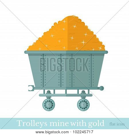 trolley mine with gold nugget on white