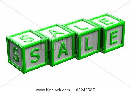Blocks With Word Sale Isolated On White Background