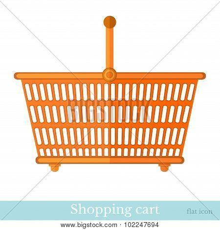 hand orange shoping basket flat style isolated on white