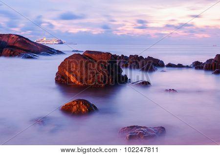 High Dynamic Range Technique Seascape In Twilight