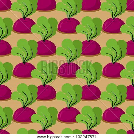 Beet Seamless Pattern. Plantation Beets With Haulm Vector Background. Garden With Vegetables. Retro