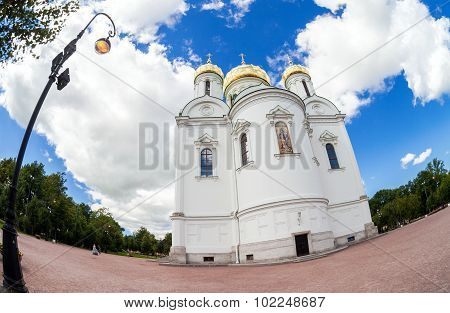 Fisheye View On Catherine's Cathedral In Pushkin Town In Summer Sunny Day