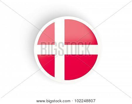 Round Sticker With Flag Of Denmark