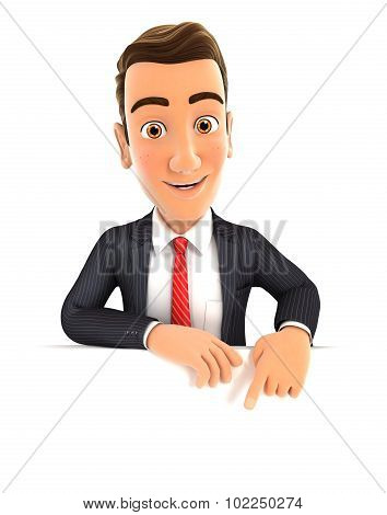 3d businessman pointing to empty wall