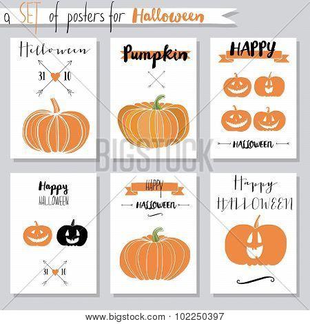 Vector set with pumpkins for Halloween