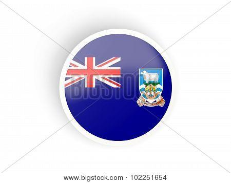 Round Sticker With Flag Of Falkland Islands