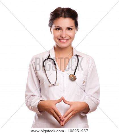 Portrait Of Happy Smiling Young Female Doctor Showing Blank Signboard, With Okay Gesture, Isolated O
