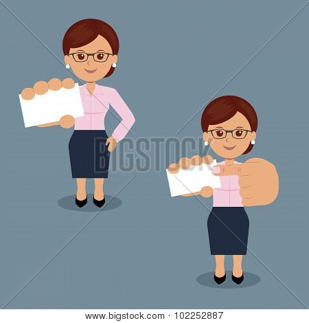Set of business woman with blank white business card in various action.