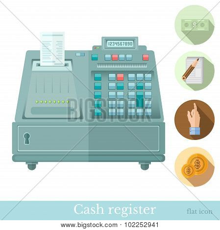 flat cash register with circle icons bank note hand pointer coin note