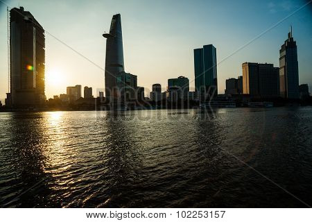 Panorama of Ho Chi Minh viewed over Saigon river