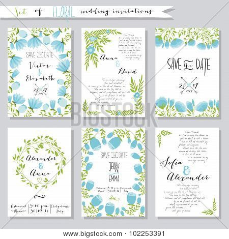 Vector illustration.Collection of wedding invitation templates with pink flowers