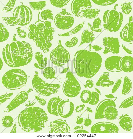 Fruits And Vegetables Retro Styled Grungy Seamless Pattern
