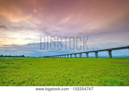 Bridge Of Railway Cross Grass Field Meadow