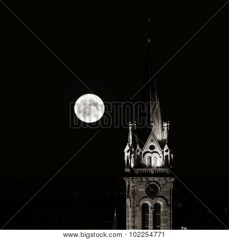 Beautiful Moonrise Over The Church, Alsace