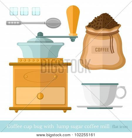 flat coffee cup bag spoon lump sugar coffee beans  coffee mil on white