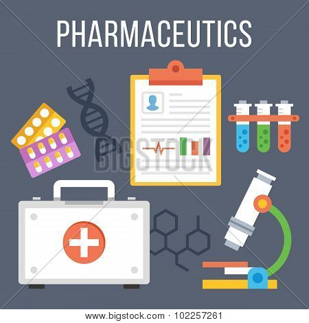 Pharmaceutics, modern technology research flat illustration concept