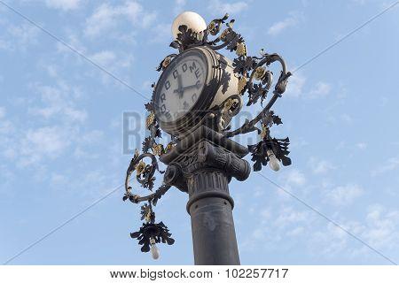 Clock Old Lamppost In The Street, Jerez De La Frontera, Spain